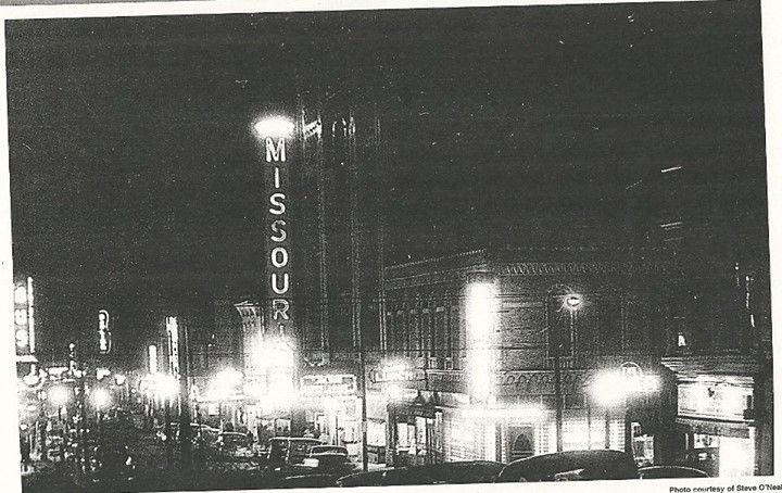 Looking west down Edmond from 8th St. at Night in the 40's