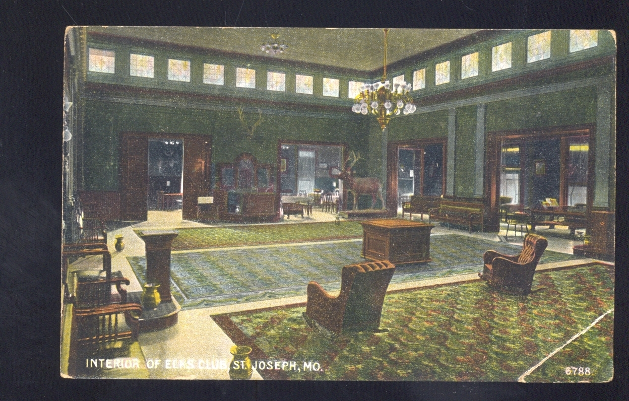 ST. JOSEPH MISSOURI ELKS CLUB LODGE INTERIOR 1908 MO.