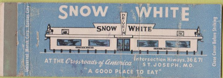 Matchbook Cover Snow White Restaurant  St. Joseph Mo.