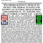 Westboro Threatens To Picket Central High School in St. Joseph Mo.