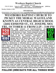 Westboro Threatens To Picket Central High School St. Joseph Mo