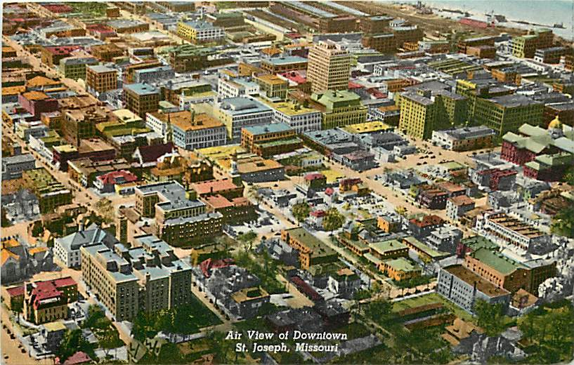 Am aerial view of downtown St. Joseph Mo.