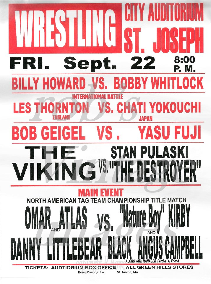 Wrestling Poster City Auditorium St. Joseph Mo