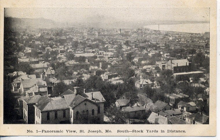 Panoramic View of St. Joseph with Stock Yards in the distance