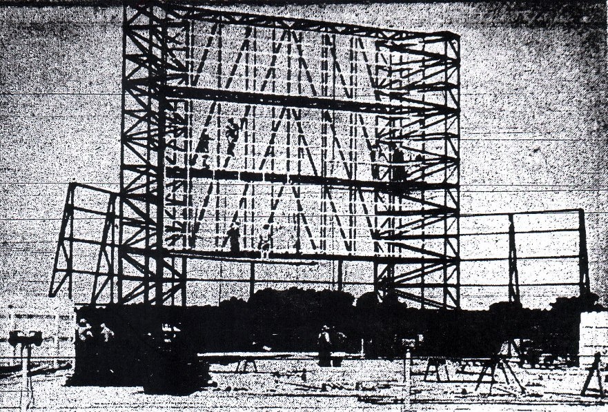 Belt Drive-In screen …when under construction in 1948.