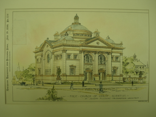First Church of Christ, Scientist, St. Joseph, MO, 1899, Original Plan