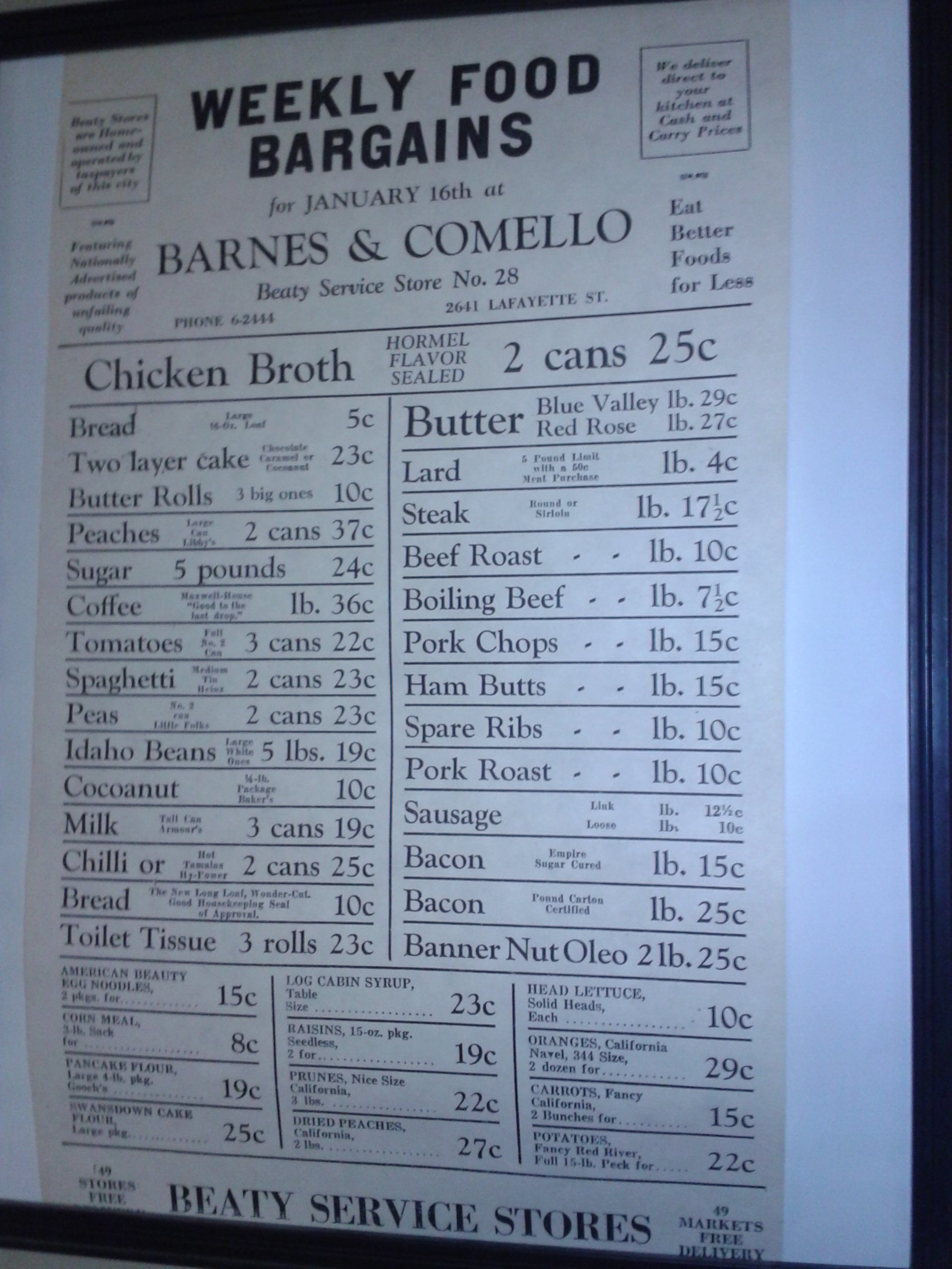 Barnes and Comello – Beaty Grocery Store Prices – Located 2641 Lafayette St. Joseph Mo