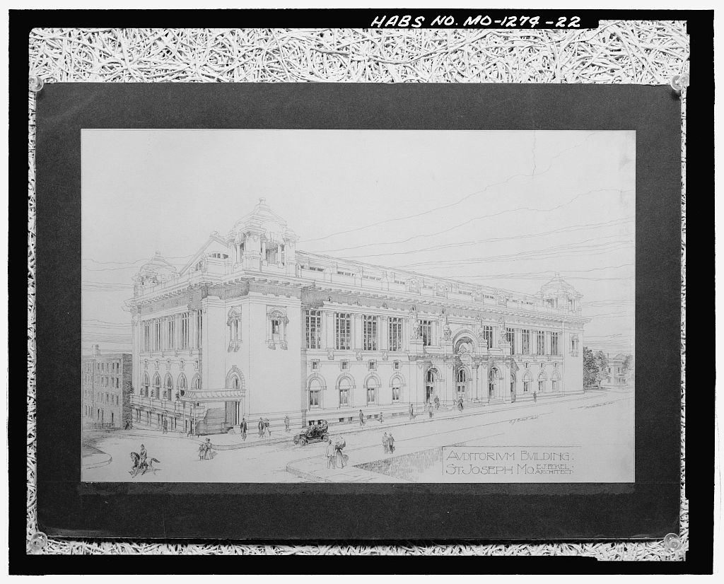 Photograph of the Architect's rendering of the proposed Auditorium Building St. Joseph Mo (1904-05)