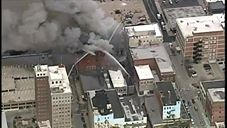 Aerial View Fire in the Downtown Pioneer Building Video