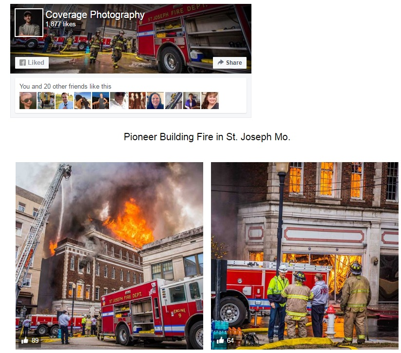 Pioneer Building Fire in St. Joseph Mo. – Coverage Photo