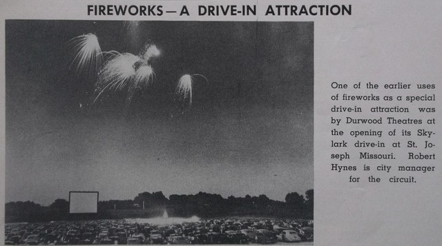 """Skylark Drive In Theater from The Independent Film Journal """"Drive-In"""" Issue 1950"""