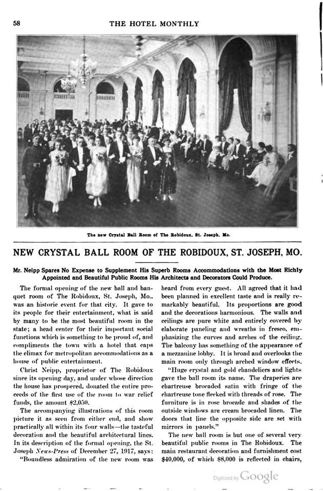 1917 St. Joseph News-Press article Crystal Ballroom