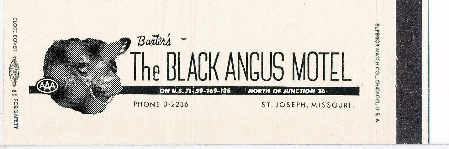 Black Angus Motel, St. Joseph, MO. matchcover