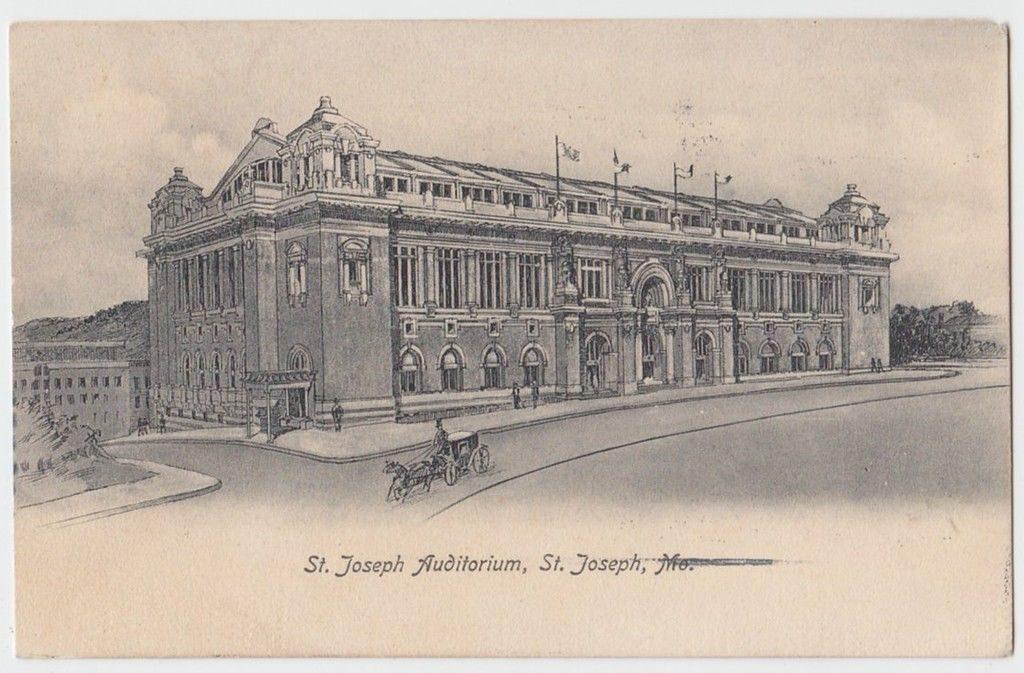 1907 ST JOSEPH Missouri MO Postcard AUDITORIUM