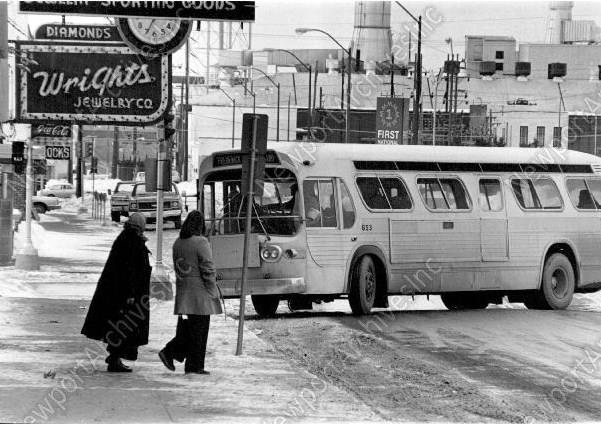 1979 Ladies Wait for the Bus in front of Wright's Jewelry on Edmond. St Joseph Missouri