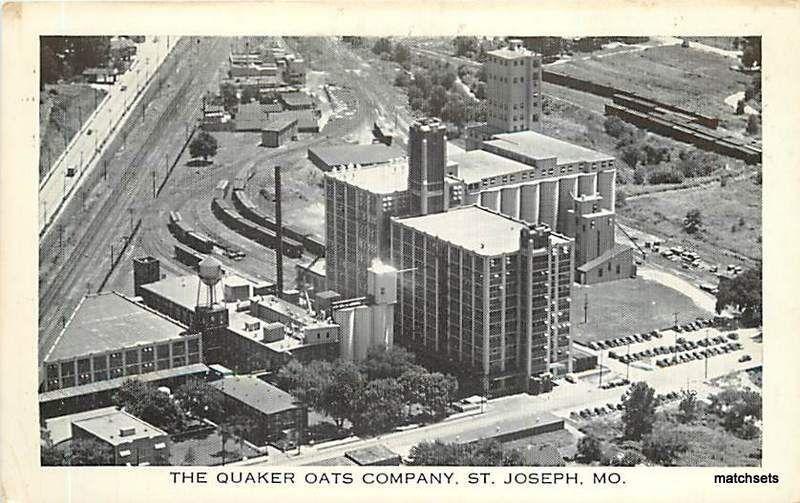 Aerial View ST. JOSEPH, MISSOURI Quaker Oats Company postcard