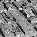 Aerial view of South 7th and 8th streets ca. mid-1950's