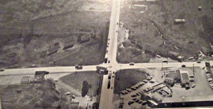 Belt & Frederick Intersection 1963 looking south. Snow White Drive In at bottom right