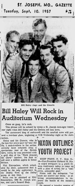 Bill Haley and Comets concert Sep. 11, 1957 at City Auditorium