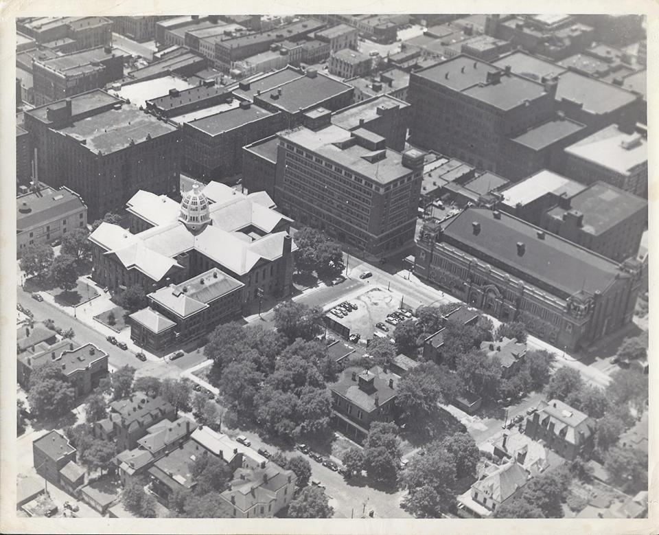 Buchanan County Courthouse and Jail. Noma Lites. Wyeth Hardware. Big Smith & The Auditorium from the air circa 1945