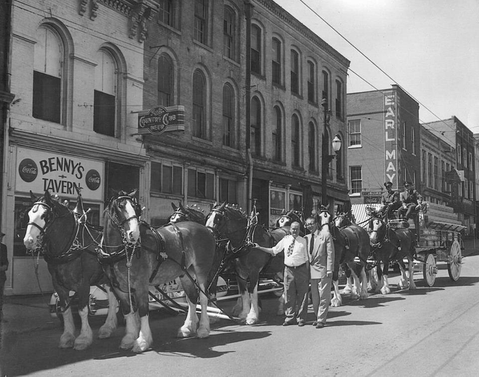 Budweiser Clydesdales and hitch in front of Benny's Tavern sporting a Goetz Country Club Sign 1949
