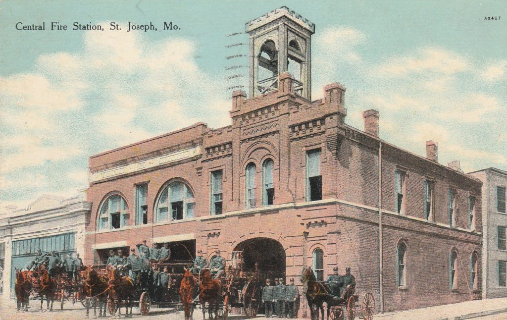 Central Fire Station Postcard St. Joseph Mo