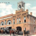 Central Fire Station~7th & Charles~Horse-Drawn Wagons~Firemen 1910