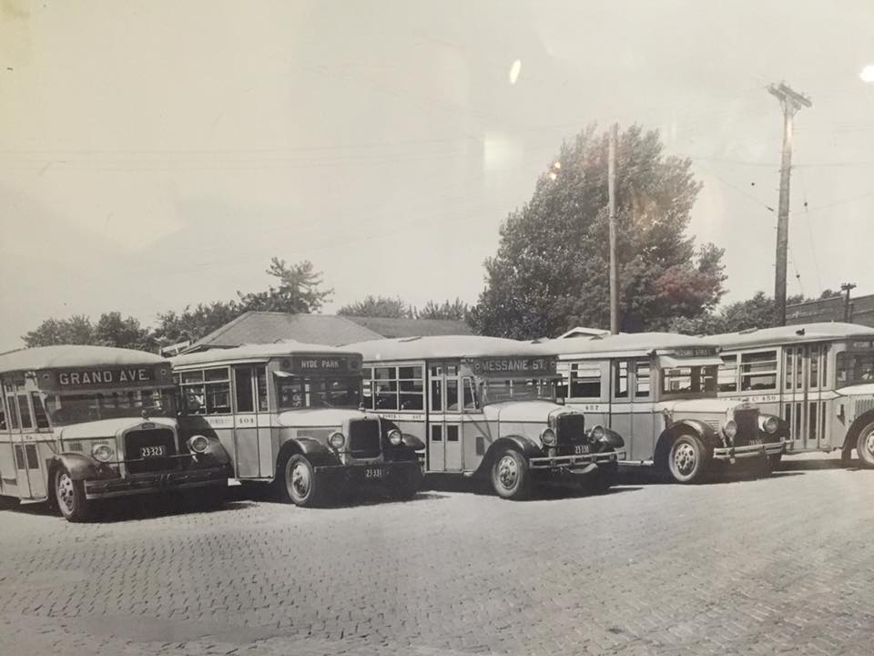 First fleet of gas powered buses in town, 1932
