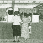 "Full house on July 25, 1949 as the Skylark has its grand opening with ""South of St. Louis"" and people here at the concession stand."