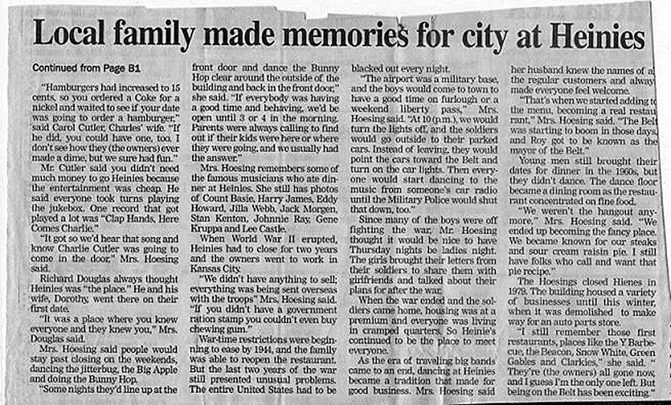 Heinie's Steak House Newspaper Article 2