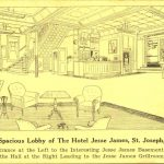 Hotel Jesse James lobby St. Joseph Missouri MO barber shop coffee shop