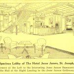 Hotel Jesse James lobby St. Joseph Missouri MO barber shop coffee shop
