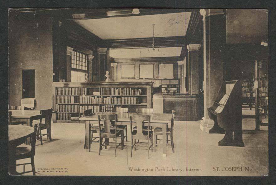 Inside the Washington Park Library circa 1912