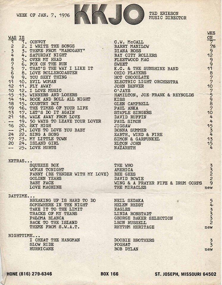 January 7, 1976 Top 25 hits