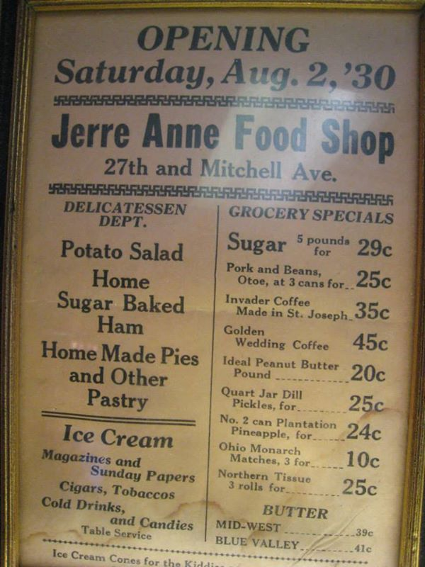 Jerry Anne Food Shop Menu