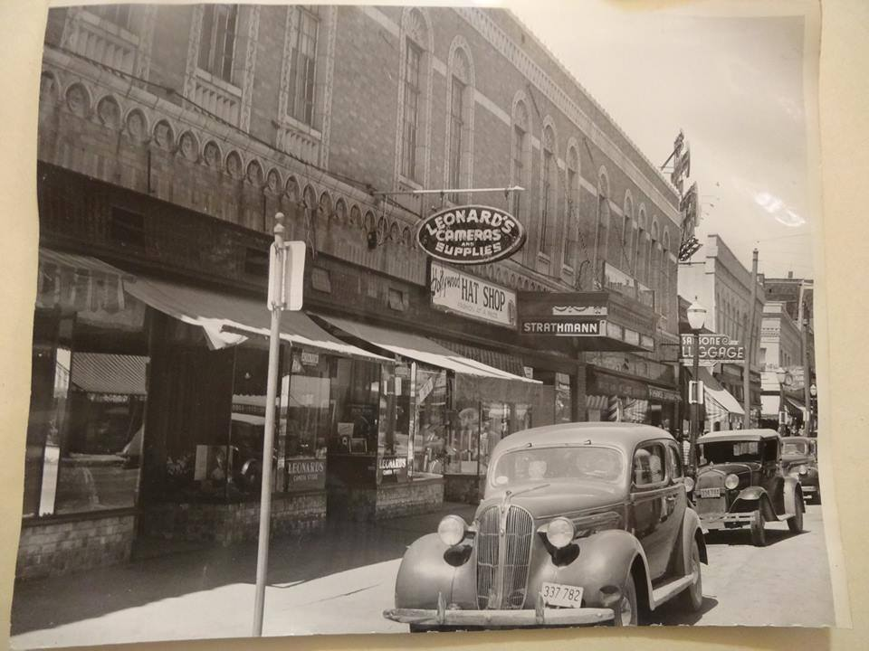 Looking North up 8th Street from Edmond 1930's. Strathman Studio visible
