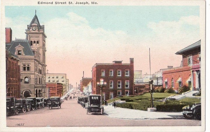 Looking west on Edmond Street pre 1926. No Missouri Theater.