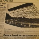 Newspaper picture of the screen coming down 17May1984