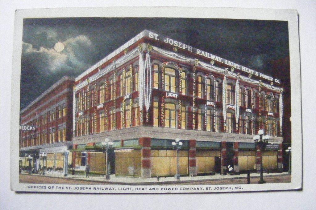 Old 1922 St Joseph, MO Post Card St.Joseph Railway Light Heat & Power Co.