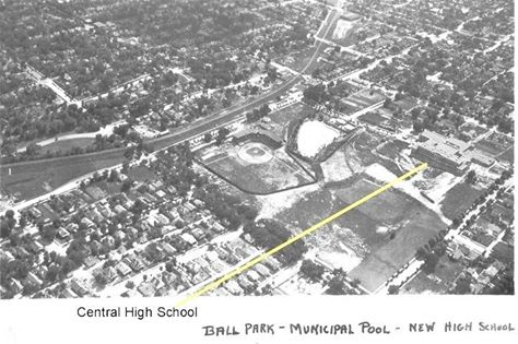 Ole Noyes Pool from the air. Circa 1933