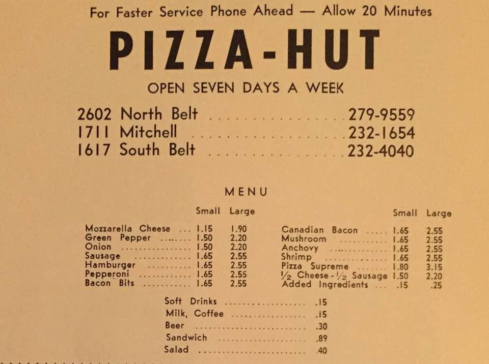 Pizza Hut Menu 1971