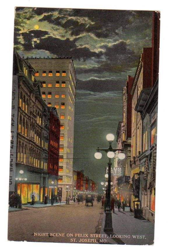 ST JOSEPH MISSOURI 1915 Postcard FELIX STREET at NIGHT
