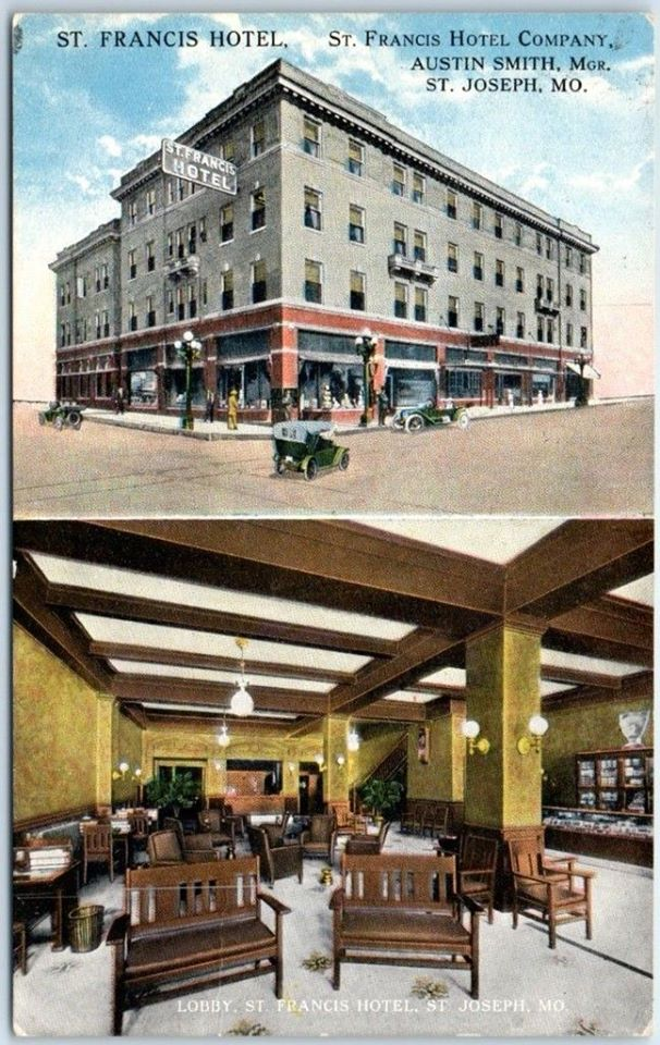 ST. FRANCIS HOTEL NE Corner 6th & Francis. Street & Lobby View 1918