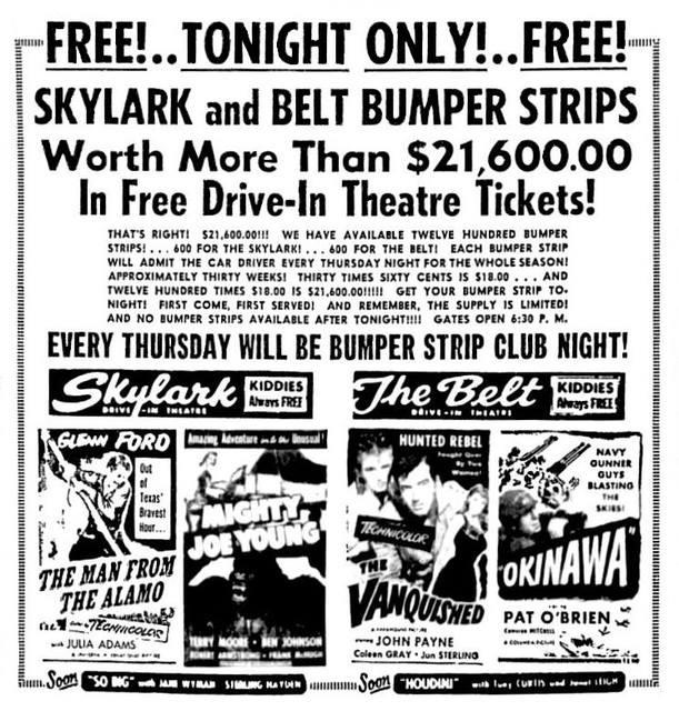 Skylark Drive-In opened on July 25, 1949