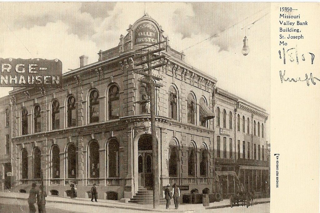 St, Joseph, Missouri – Missouri Valley Bank & Trust – Pre 1907