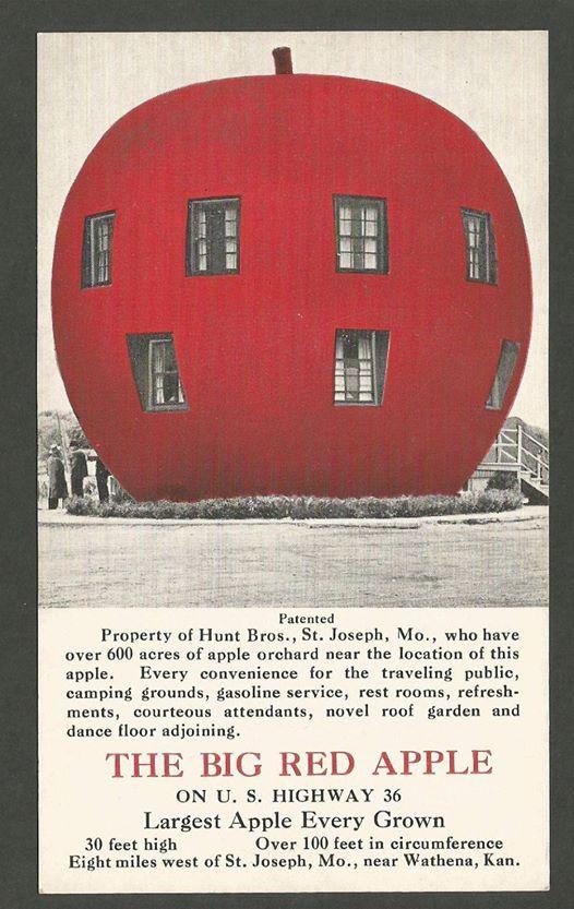 The Big Red Apple Advertising Postcard, Hunt Bros, St. Joseph, MO, Wathena, KS