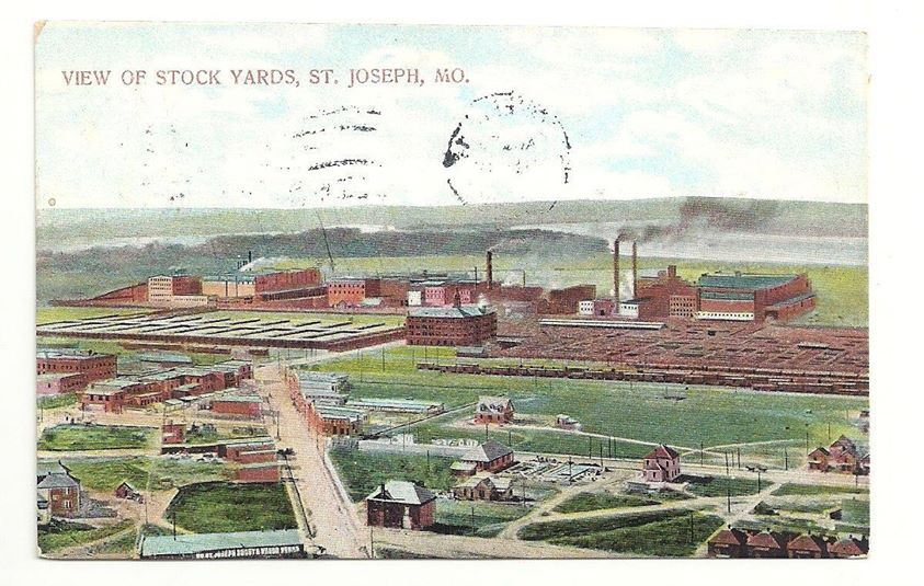 View Of Stock Yards St Joseph Missouri Posted 1909