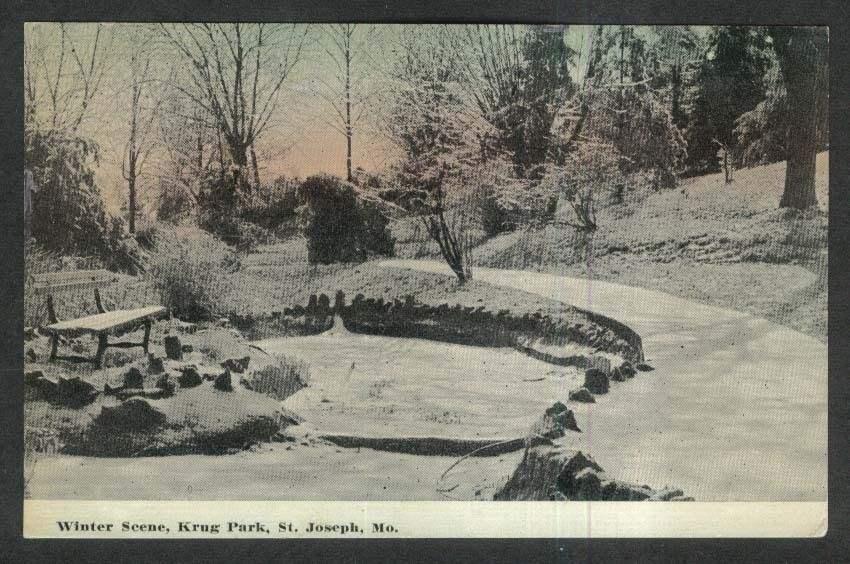 Winter Scene Krug Park St Joseph MO postcard 1912
