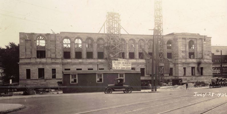 construction of our city hall. This one is dated July 28, 1926 and shows a sign proclaiming Eckel and Aldrich architects and Lehr doing the construction